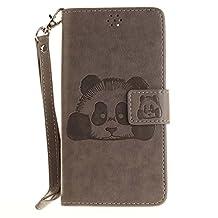 DOOGEE X5 Case, Doogee X5 Pro Case, COOSTOREEU Cute Cartoon Pattern Panda PU Leather Wallet Stand Flip Case Cover for DOOGEE X5 / Doogee X5 Pro, Gray