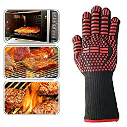 Wichemi Extreme Hot 932℉ Heat Resistant Gloves Silicone Oven Glove For Bowl Holder Fire Cooking Baking Bbq Grilling Cooking Welding Cutting