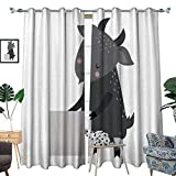 Best IkEA Kids Plates - longbuyer Black Out Window Curtain Wild Animal Goat Review