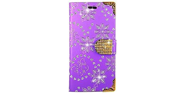 Amazon.com: Vodafone Smart Turbo 7 Case, FoneExpert Bling Diamond Butterfly Flowers Leather Kickstand Flip Wallet Bag Case Cover For Vodafone Smart Turbo 7: ...
