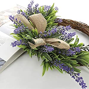 TRRAPLE Artificial Flower Decoration Wreath, 1 Pcs Simulation Lavender Wreath, Artificial Christmas Fake Flower Decoration Garland with Bow-Knot Ornament for Front Door Wall Mirror Window 5