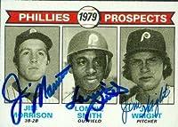 Jim Morrison & Lonnie Smith & Jim Wright autographed Baseball Card (Philadelphia Phillies) 1979 Topps #722