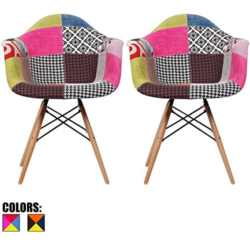 Cheap 2xhome – Set of Two (2) – Multi-Color – Modern Upholstered Armchair Fabric Chair Patchwork Multi-Pattern Light Brown Natural Wood Leg Dining Room Chair with Arm