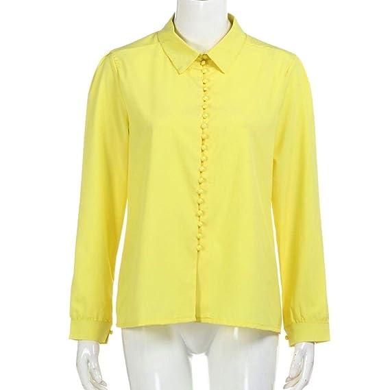Beswtow Mujeres Casual sš®Lido Mangas largas Blusa Solapa Camisa Breasted Camisa Blusa Ropa Zapatos Ocio: Amazon.es: Ropa y accesorios