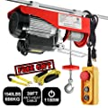 Partsam Lift Electric Hoist Crane Remote Control Power System, Zinc-Plated Steel Wire Overhead Crane Garage Ceiling Pulley Winch w/Premium Straps (120V/510W/4.3A/60Hz)