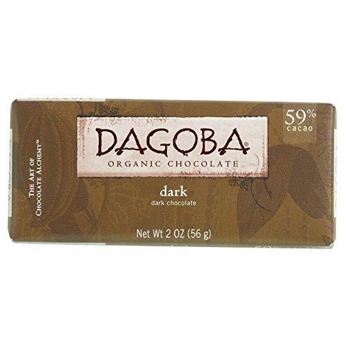 Dagoba Organic Chocolate Bar - Semisweet Dark Chocolate - 59 Percent Cacao - 2 oz Bars - Case of 12 - 95%+ Organic - Gluten Free - Wheat Free - (59% Organic Dark Chocolate)