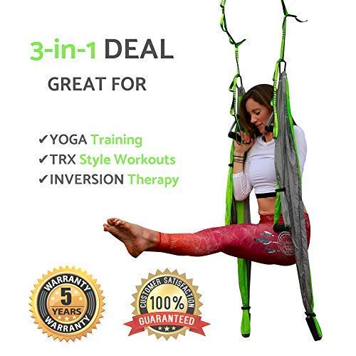 Aerial Yoga Swing - Gym Strength Antigravity Yoga Hammock - Inversion Trapeze Sling Equipment with Two Extender Hanging Straps - Blue Pink Grey Swings & Beginner Instructions (Green and Platinum) by Yogatail (Image #3)