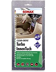 SONAX Clean&Drive Turbo ściereczka wewnętrzna 40 x 50 wyświetlacz lady (1 sztuka) delikatnie i dokładnie czyści wszystkie gładkie i szorstkie powierzchnie we wnętrzu | Nr art. 0413000