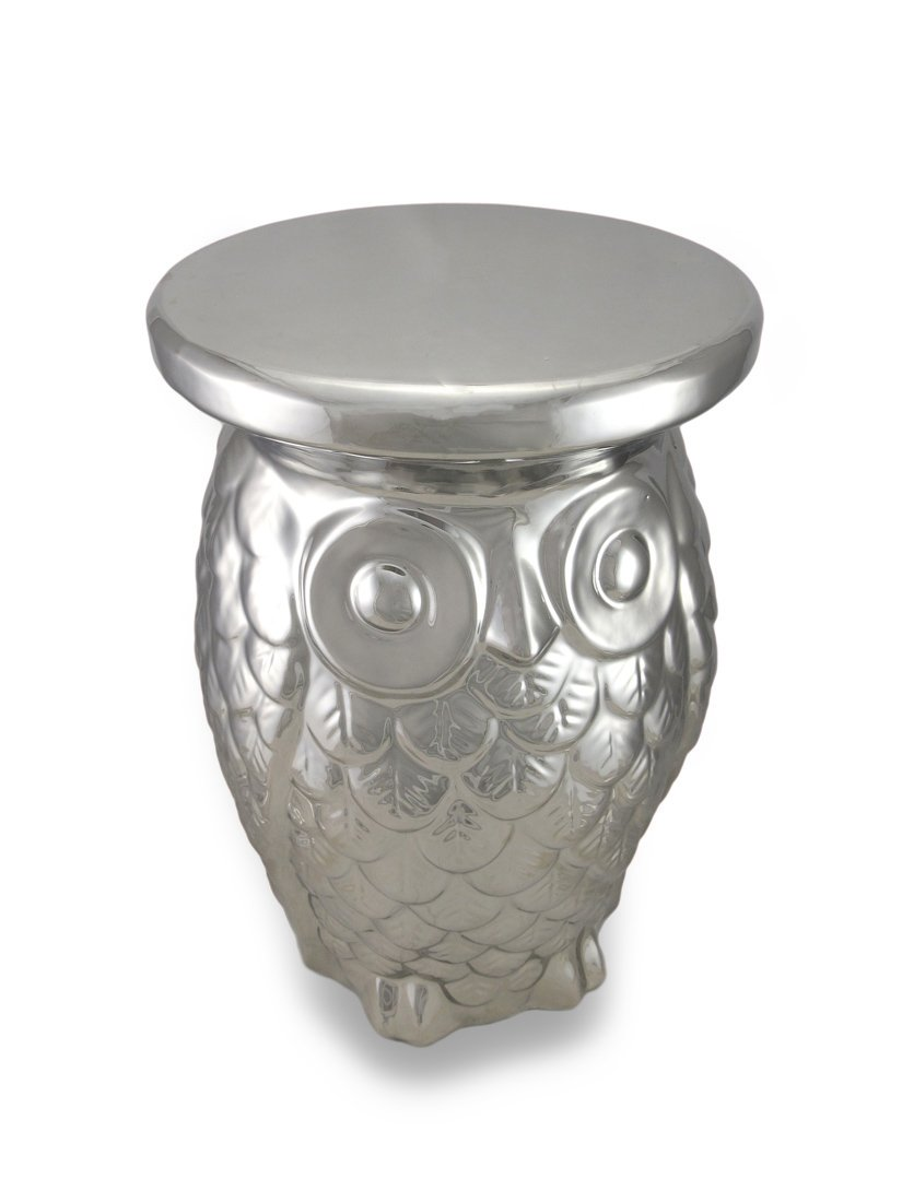 Keramik chrom Finish Eule Garten Hocker Pflanzenständer Dekorative Tabelle