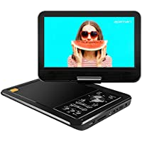 APEMAN 10.5 Portable DVD Player with Swivel Screen Remote Control Support SD Card USB DVD AV in/Out Earphone Speaker 5 Hours Built-in Rechargeable Battery for TV Kids Car Travel Companion