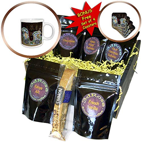3dRose Jos Fauxtographee- Carousel Car - A carousel car with a cupid drawn on it and flowers - Coffee Gift Baskets - Coffee Gift Basket (cgb_293330_1) -