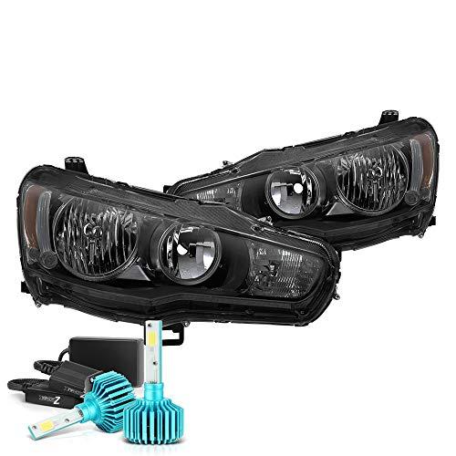 (VIPMOTOZ Black Smoke OE-Style Headlight Headlamp Assembly For 2008-2017 Mitsubishi Lancer Ralliart Evolution EVO X Halogen Model - Built-In Rainbow RGB LED Low Beam, Driver & Passenger Side)