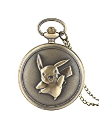 Retro Men's Pocket Watch, Kawaii Pikachu Pocket Watch Japan Anime Pokemon Theme Cartoon Clock Cute Gifts