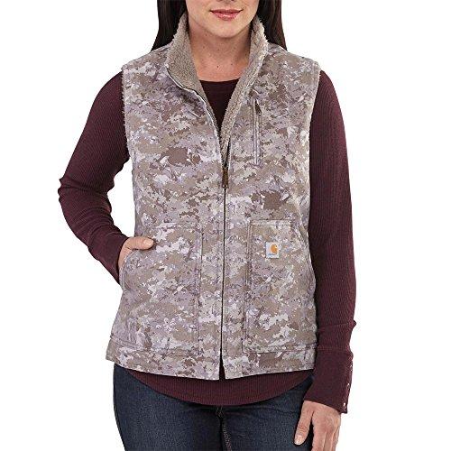 Carhartt Women's Sandstone Mock Neck Vest Printed, Hybrid Camo Purple, X-Small