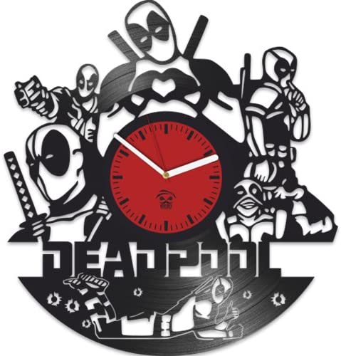 Kovides Deadpool Clock, Ryan Reynolds Film Hero, Vinyl Record Clock, Best Gift for Fans, Vinyl Wall Clock, Home Decor, Comics Marvel DC Movie, Silent Mechanism, Wall Art Decor