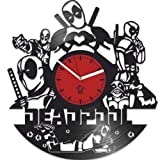 Deadpool Clock, Ryan Reynolds Film Hero, Vinyl Record Clock, Best Gift For Fans, Kovides Vinyl Wall Clock, Home Decor, Comics Marvel DC Movie, Silent Mechanism, Wall Art Decor