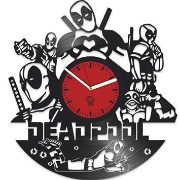 Deadpool Clock, Ryan Reynolds Film Hero, Vinyl Record Clock, Best Gift For Fans, Kovides Vinyl Wall Clock, Home Decor, Comics Marvel DC Movie, Silent Mechanism, Wall Art Decor