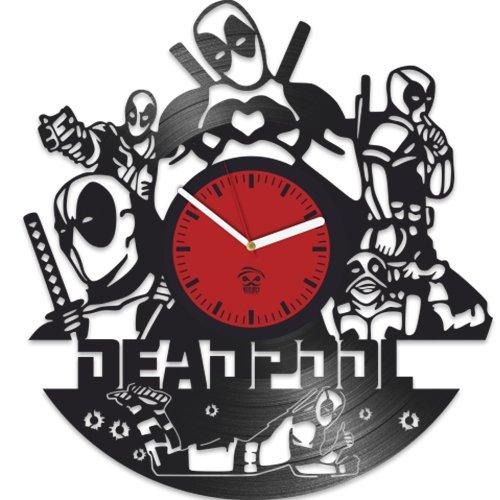 Kovides Deadpool Clock, Ryan Reynolds Film Hero, Vinyl Record Clock, Best Gift for Fans, Vinyl Wall Clock, Home Decor, Comics Marvel DC Movie, Silent Mechanism, Wall Art Decor