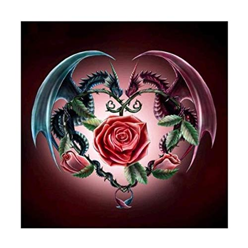 DIY 5D Diamond Painting by Number Kit, Dragons with Rose Full Drill Rhinestone Embroidery Cross Stitch Supply Arts Craft Canvas Wall Decor 11.8x11.8 inch (Rose Dragon)