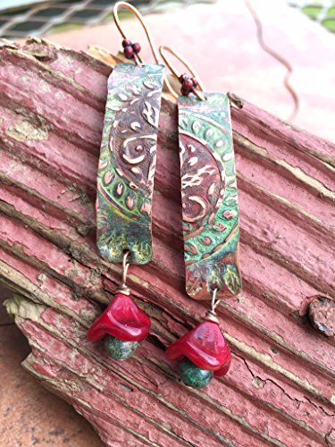 Athena Boho Blue Red and Green Patina Dangle Earrings in Copper with Red Glass Floral Drops by BANDANA - Woodrow Glasses