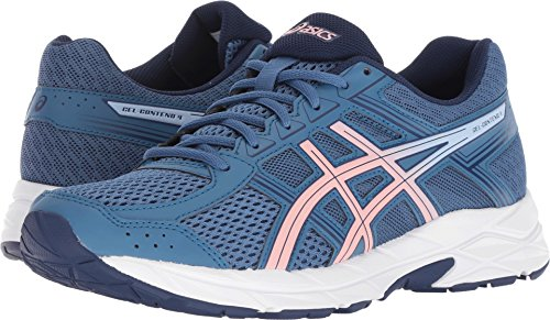 ASICS Womens Contend 4 Running Sneaker, Azure/Frosted Rose, Size 10.5