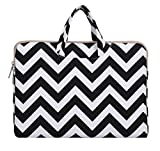 Mosiso Chevron Style Canvas Fabric Laptop Briefcase Handbag Case Cover Only for New MacBook 12 Inch with Retina Display, Black