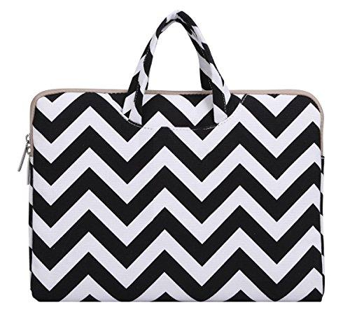 Mosiso Chevron Style Canvas Fabric Laptop Briefcase Handbag