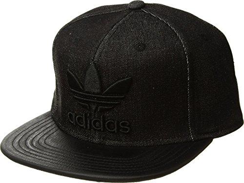 adidas Men's Originals Trefoil Plus Snapback Cap, Black Denim/Black, One Size