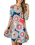 Best unknown Maxi Dresses - Women's 3/4 Sleeve Boho Floral Printed Swing Dress Review