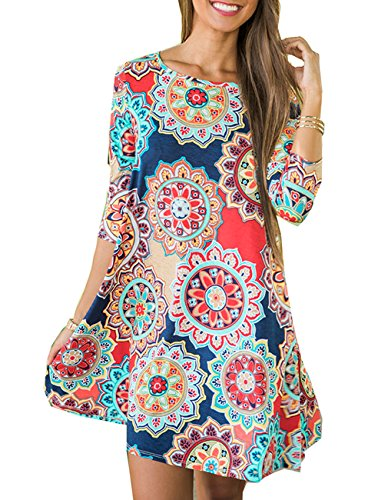 (Women's 3/4 Sleeve Damask Floral Printed Tunic Dress Bohemian Swing Casual Midi Dress with Pocket Tunic Blouses for Leggings (Medium, Navy))