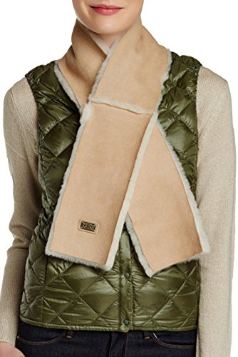Australia Luxe Collective Cravat Genuine Shearling Trim Scarf sheepskin leather (sand sheepskin) by Australia Luxe Collective