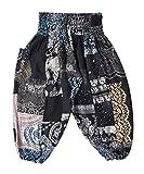 Lofbaz Kid's Patch Boho Pants - Black - 12-13Y