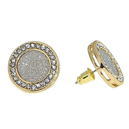 Ring Pave Circle Luxurious - HUGE 18mm Round Micro Pave Yellow Gold Tone Hip Hop Bling Big Circle Iced-Out Earrings