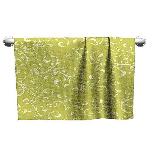 - Tankcsard Custom Towel Yellow Flower Ornament on Olive Background (Wallpaper),Hair Towel wrap for Kids