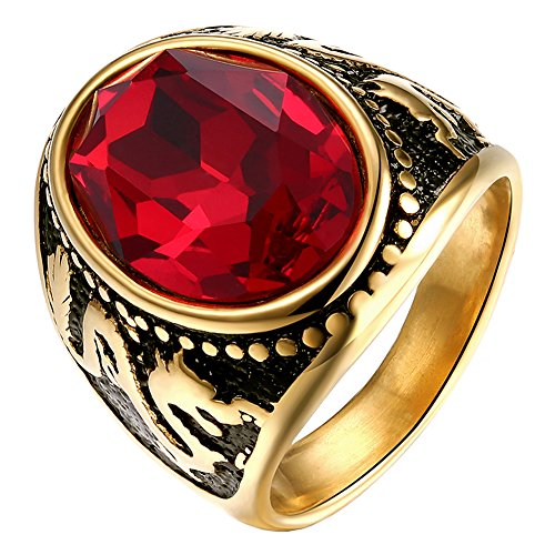 PAURO Men's Stainless Steel Gold Plated Oval Red Cubic Zirconia Ring with Dragon Pattern Vintage Size 9 (Ruby Bands Vintage)