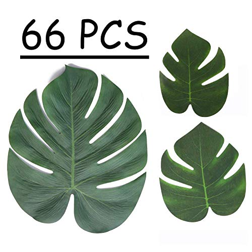 Moon Boat Tropical Palm Leaves Plant Imitation Leaf-Hawaiian/ Luau/Jungle Party Table Decorations (66PCS) -