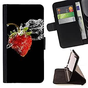 DEVIL CASE - FOR LG OPTIMUS L90 - Fruit Macro Wet Strawberry - Style PU Leather Case Wallet Flip Stand Flap Closure Cover