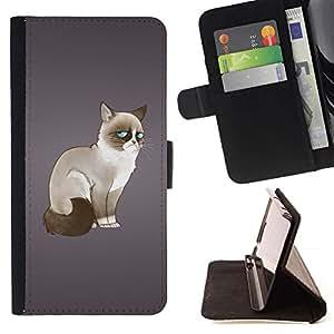 Momo Phone Case / Flip Funda de Cuero Case Cover - Gato siamés Moody Blue Eyes Arte Dibujo Felino - Samsung Galaxy A5 ( A5000 ) 2014 Version