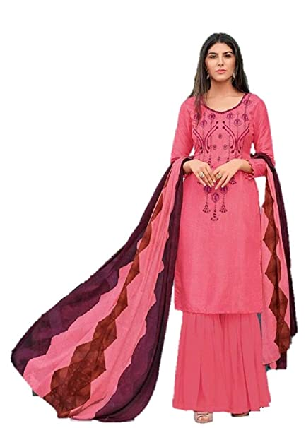 b2d05ea8fd DRAVINAM Trends Women's Unstitched Pure Upada Silk embroidered Salwar Suit  Dress Material with Chinon Dupatta (Free size_Pink): Amazon.in: Clothing &  ...
