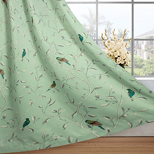 - H.VERSAILTEX All Season Thermal Insulated Traditional Birds Floral Pattern in Quiet Green Base Grommet Top Blackout Curtains/Drapes / Panels for Bedroom, 2 Panels, W52 x L63 inch