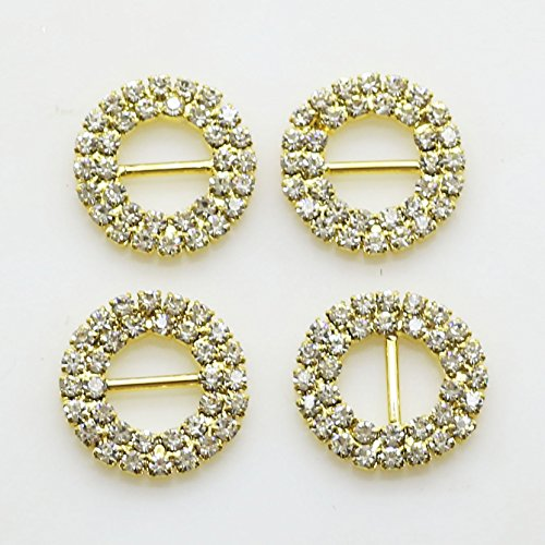 AngHui ShiPin 20pcs 20mm Gold Round Rhinestone Buttons Diamond Ribbon Christams Buckles Bar Double Row Circle Buckles Garment Hair Jewelry Wedding Shoes Accessories - Round Ribbon