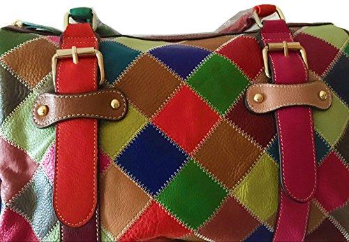 Kuer Cross Purse body handle Satchel Top Soft Leather TM Tote 2 Bag Colorful Hereby Multi Shoulder Women��s Handbag color pvdaqdwxf