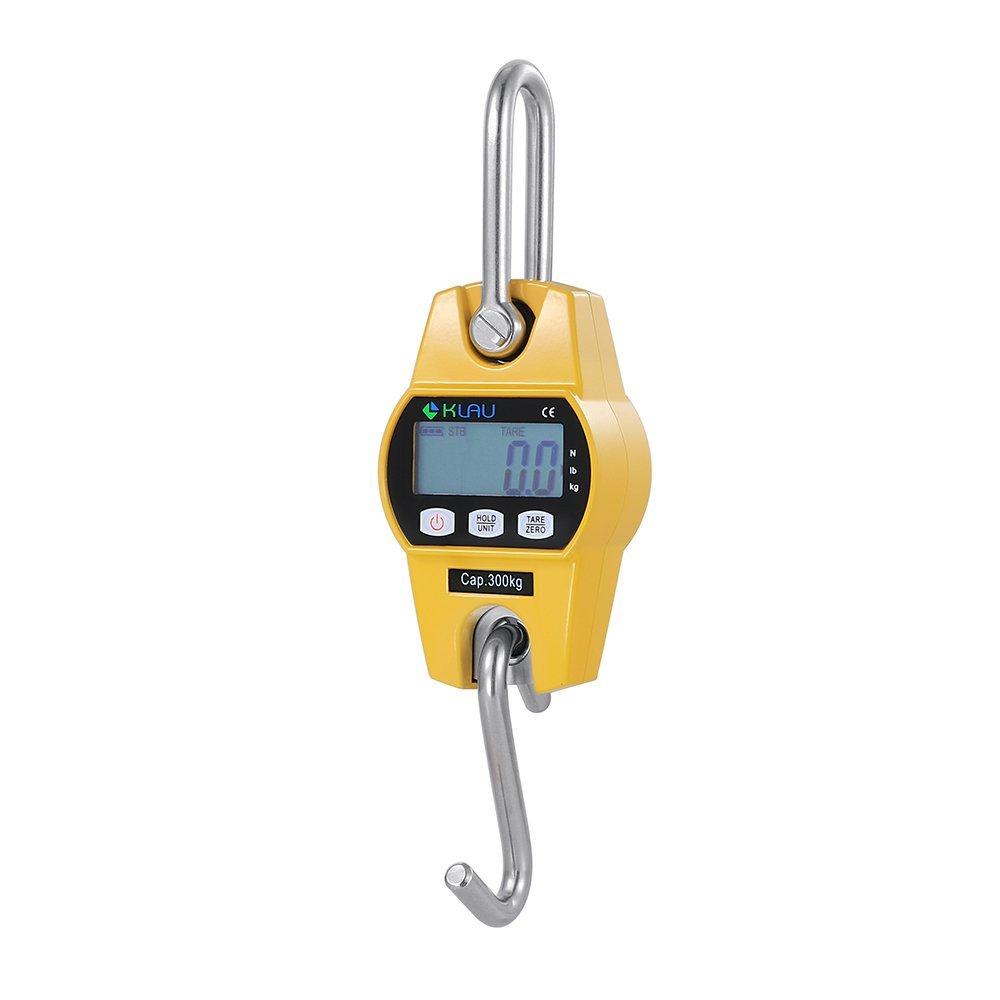 Crane Scale,Klau Mini Hoist 300 kg / 600 lb Industrial Heavy Duty Digital Hanging Scales Yellow for Home Farm Factory Hunting