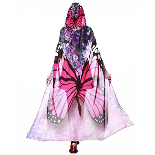Pink Video Monitor - TLoowy 2017 Womens Butterfly Wings Cape Shawl Fairy Peacock Poncho Shawl Wrap Costume Accessory (Hot Pink)