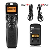 Pixel T9-DC0/DC2 LCD Wired/Wireless Timer Shutter Release Remote Control with Two Connecting Cables for Nikon D800 series/D810 series/300series/D300s/D700/D300/D7200(DC0/DC2)