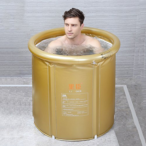 Adult Folding Bathtub Thick Plastic Bath Tub Inflatable Simple Bath Tub Home SPA Bathtub (Color : Gold, Size : L)]()