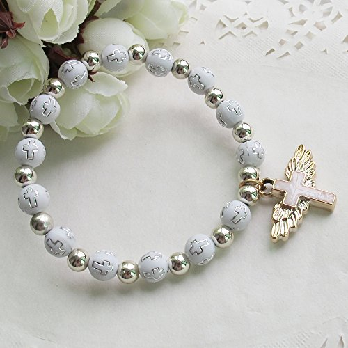 12 Pcs Angel Wing Cross Bracelet with Organza Favor Bags for Boy and Girl - Baptism Favor / Christening Favor by WE (Image #1)