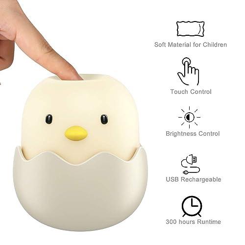 Baby Night Light: Bedside LED Nursery Lamp with Dim Brightness Adjustable