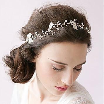 buy good the best amazon Juanya Femmes cristal perles lacet bandeau cheveux Accessoires cheveux  mariage bijoux
