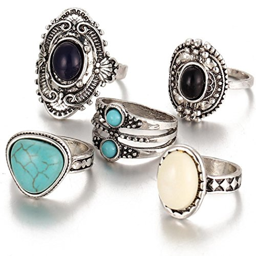 Aniywn Hot Sale! 5pcs/Set Women Bohemian Vintage Silver Stack Rings Above Knuckle Blue Rings Set (Free Size, Silver) (Turquoise Stack)